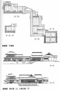三渓園平面・立面(「三渓園の建築と原三渓」西和夫著 有隣新書)