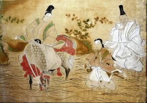 巌出御殿そばの川辺で遊ぶ幼い頃の吉宗(中央)。左で騎乗するのが父・光貞