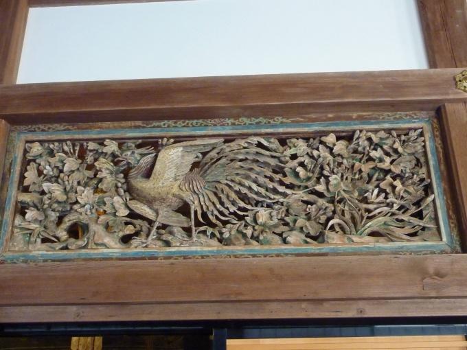 瑞巌寺本堂の欄間の彫刻(鳳凰)